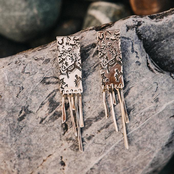 Серебряные серьги «Дождь и камень» с чернением